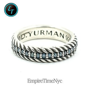 David Yurman Pav Cable Band Ring With Blue Color Diamonds Ref R05546mssadi