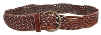 Depeche Womens Brown Woven Belt Leather Brass Buckle