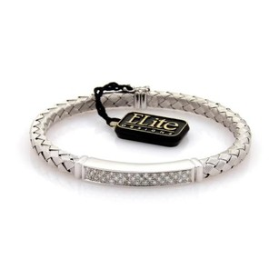 Other Designer Elite Diamonds 18k White Gold Woven Bar Design Bracelet Bangle
