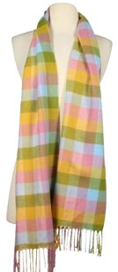 Other Designer Womens One Pink Blue Yellow Checkered Scarf Cashmere Blend