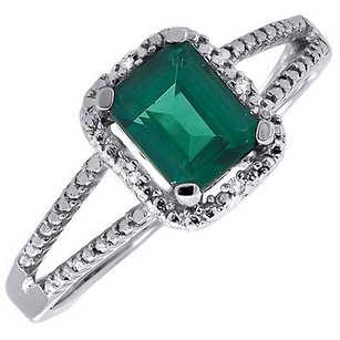 Diamond 10k White Gold Created Green Emerald Fashion Cocktail Ring 1.51 Tcw.