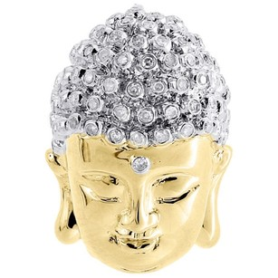Diamond Buddha Face Pendant .925 Sterling Silver Round Pave Charm 0.42 Ct.