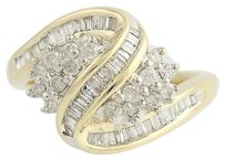 Diamond Cluster Bypass Ring - 10k Yellow White Gold .50ctw