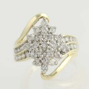 Other Diamond Cluster Cocktail Ring - 10k Yellow White Gold Bypass 1.00ctw