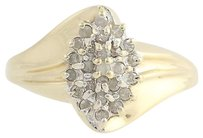 Diamond Cocktail Bypass Ring - 10k Yellow White Gold Cluster Genuine .25ctw