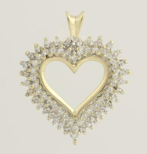 Diamond Covered Heart Pendant - 10k Yellow Gold Womens Fine Estate Love .25ctw
