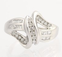 Diamond Crossover Cocktail Ring - 10k White Gold Womens 34 Genuine .50ctw