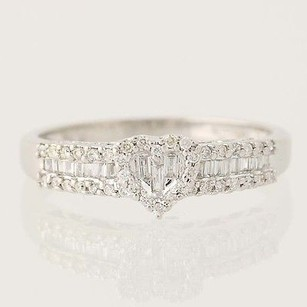 Diamond Heart Ring - 18k White Gold Baguette Cut Promise Engagement .50ctw