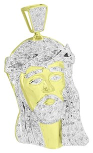 Diamond Jesus Christ Pendant Gold Over 925 Sterling Silver 0.75 Ct High End Sale