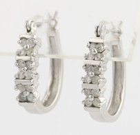 Other Diamond Oval Hoop Earrings - 14k White Gold Womens Pierced Natural .50ctw