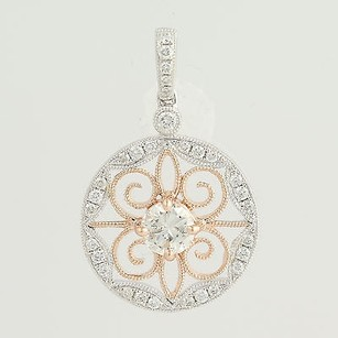 Other Diamond Pendant - 14k White Rose Gold Milgrain .54ctw