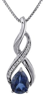 Other Diamond Pendant Created Blue Sapphire White Gold Infinity With Chain 2.26 Tcw.