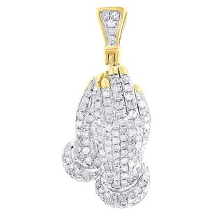 Diamond Praying Hands Pendant Mens .925 Sterling Silver Pave Charm 0.45 Ct.