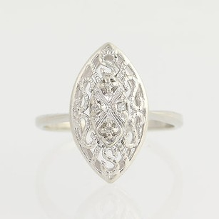 Diamond Ring - 10k White Gold April Birthstone Womens .04ctw