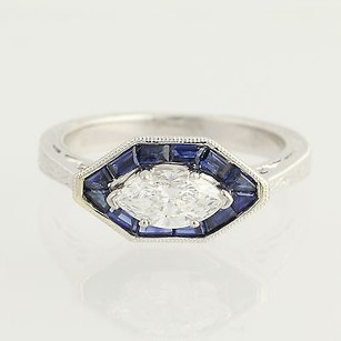 Other Diamond Sapphire Halo Ring - 14k White Gold Marquise Scroll Work 2.02ctw