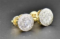 Other Diamond Stud 10k Yellow Gold Round Cut 12 Ct 8mm Cirlce Earrings