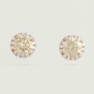 Other Diamond Stud Earrings - 14k Rose Gold Champagne Pierced Genuine 1.68ctw