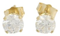 Diamond Stud Earrings - 14k Yellow Gold Basket Mount Pierced 1.10ctw