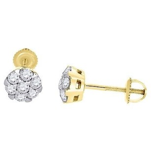 Diamond Stud Earrings 14k Yellow Gold Mens Ladies Round Solitaire Look 0.48 Ct.