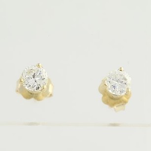 Other Diamond Stud Earrings - 14k Yellow Gold Round Solitaire 0.68ctw Pierced