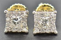 Diamond Studs Mens Ladies 10k Yellow Gold Princess Cut Solitaire Earrings .49 Ct