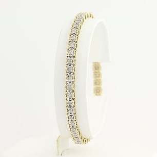 Diamond Tennis Bracelet - 10k Yellow White Gold 7.5 4.6mm Womens 1.50ctw