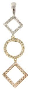 Other Diamond Tri-toned Gold Pendant - 10k White Yellow Rose Gold Genuine .33ctw