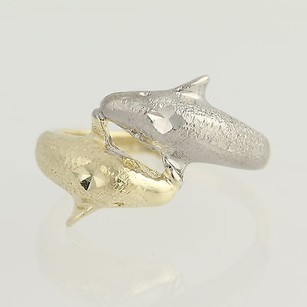Other Dolphin Bypass Ring - 14k Yellow White Gold Textured