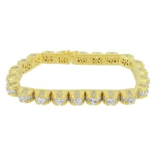 Dome Link Tennis Bracelet Gold Finish Over Sterling Silver Simulated Diamond