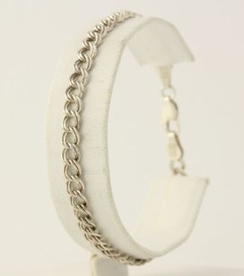 Other Double Linked Curb Chain Charm Bracelet Sterling Silver 925 Italy Starter 7.75
