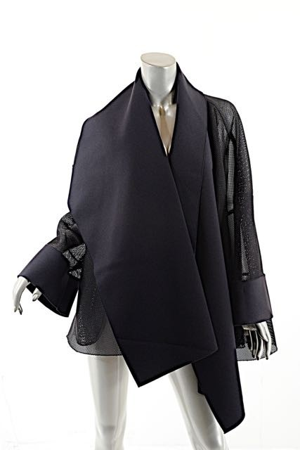 Stunning Mesh/polyester Scarf Collar Jacket W/on Seam Pockets Ann