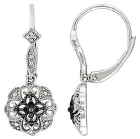 Other Sterling Silver Black Diamond Leverback Flower Earrings