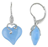 10k White Gold Diamond And 10.6 Ct Blue Chalcedony Leverback Heart Love Earrings