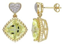 Other Yellow Sterling Silver 7 34 Ct Topaz Lemon Quartz Heart Drop Dangle Earrings