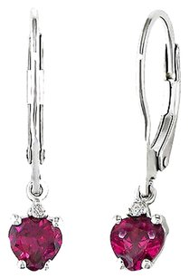 Sterling Silver 1.02 Ct Tcw Heart Red Ruby Round Diamond Leverback Earrings I3