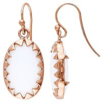 Other Amour Pink Silver White Onyx Oval Hook Dangle Earrings 7.44 Ct