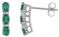 Other 10k White Gold Diamond And 78 Ct Tgw Emerald Ear Pin Earrings Gh I2-i3