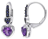Other 14k White Gold 34 Ct Amethyst-africa Sapphire Drop Dangle Leverback Earrings