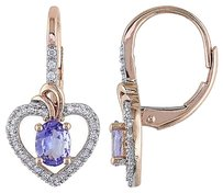 10k Pink Gold 16 Ct Diamond And 58 Ct Tanzanite Heart Love Leverback Earrings