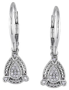 Other 10k White Gold Diamond Dangle Earrings 0.1 Cttw G-h I1-i2