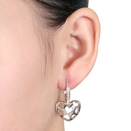 Other Sterling Silver 110 Ct Diamond Heart Cage Geometric Leverback Earrings Gh I2i3