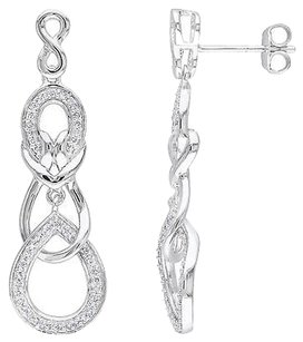 Sterling Silver 13 Ct Diamond Infinity Crossover Swivel Drop Earrings Gh I2i3