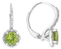 Sterling Silver 1 12 Ct Tgw Peridot 0.06 Ct Tdw Diamond Earrings I-j