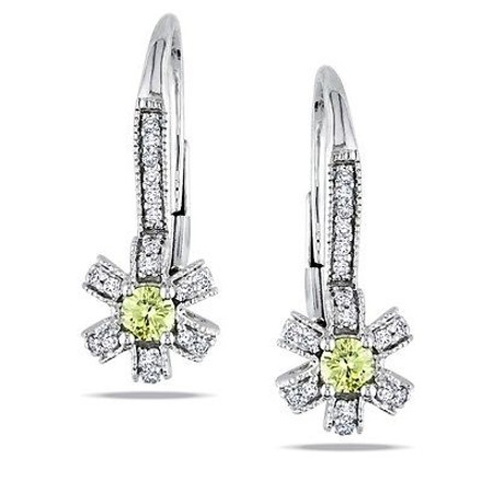 Other 14k White Gold Yellow And White Diamond Drop Earrings