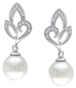 Sterling Silver 8-8.5 Mm Pearl Diamond Accent Drop Earrings 0.1 Cttw G-h I2-i3