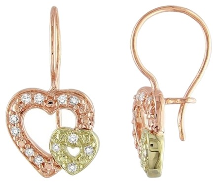 Other 10k Yellow Gold Diamond Drop Double Heart Two-tone Love Earrings 0.14 Ct