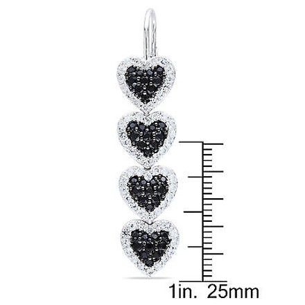 Other Sterling Silver 4 34 Ct White Sapphire Black Spinel Heart Leverback Earrings