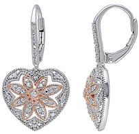 Sterling Silver 14 Ct Diamond Heart Flower Nature Leverback Earrings Gh I2i3