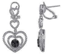 Sterling Silver 12 Ct Black And White Diamond Heart Stacked Stud Earrings Gh I3