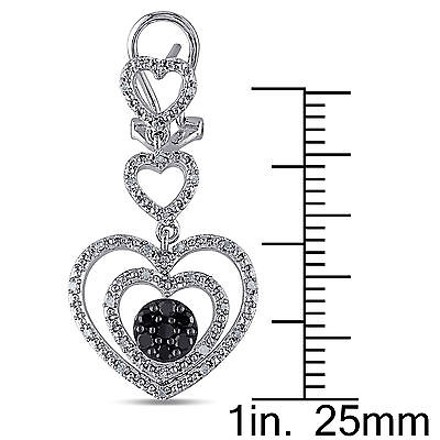 Other Sterling Silver 12 Ct Black And White Diamond Heart Stacked Stud Earrings Gh I3